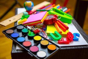 ferramentas de equipamentos de educação escolar foto