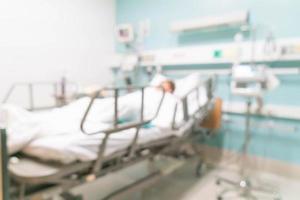 borrão abstrato interior no hospital para segundo plano foto