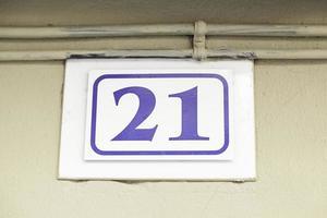 número vinte e um em uma parede foto