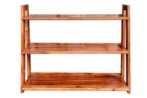 prateleira de madeira vazia armário vintage como caixa isolada foto