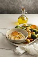 deliciosa composição de refeição vegana rica em proteínas foto