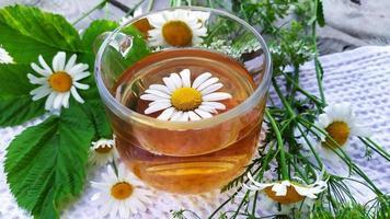bebida de camomila. chá com flores de camomila. flores e um copo foto