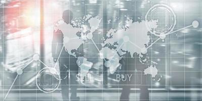 gráficos de gráfico financeiro de investimento. painel de inteligência venda e compra foto