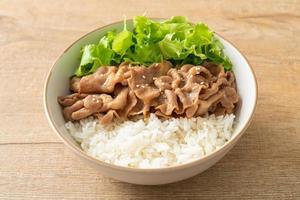 tigela de arroz donburi de porco japonês foto