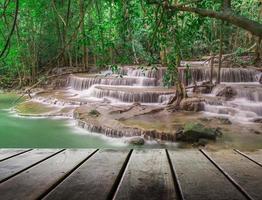 piso de madeira e cachoeira natureza fresca foto
