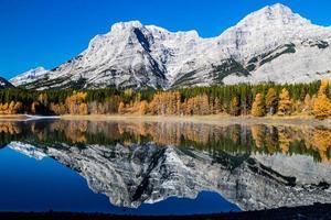 lagoa em cunha e um dia de outono. Parque provincial do vale do spray. foto
