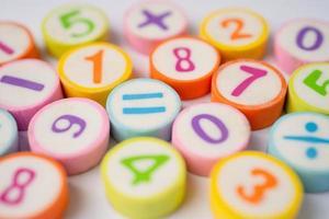 fundo colorido do número matemático foto