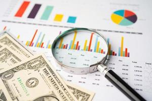 lupa e notas de dólar americano no gráfico foto