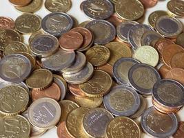 muitas moedas de euro foto