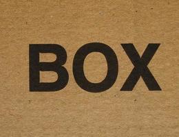 etiqueta da caixa em papelão foto