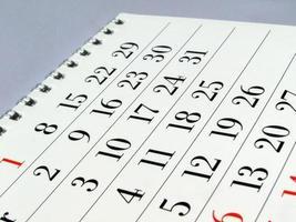 detalhe da página do calendário foto