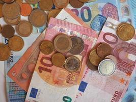 notas e moedas de euro, união europeia eu foto