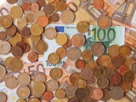 notas e moedas de euro, união europeia foto