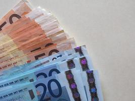 notas de euro eur, união europeia eu com espaço de cópia foto