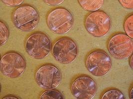 moedas de um centavo de dólar, estados unidos foto