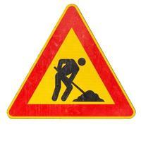 sinalização de obras rodoviárias isolada foto