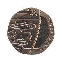 Moeda de 20 pence, Reino Unido isolado sobre o branco foto