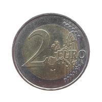 moeda de dois euros isolada foto