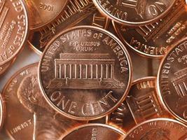 Moeda de 1 cent, estados unidos, foco seletivo foto
