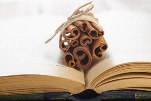 pacote de pau de canela e anis estrelado em um livro foto