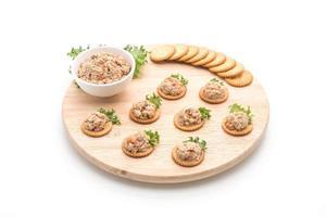 salada de atum com bolacha no fundo branco foto
