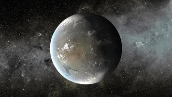 conceito de artista representando kepler 62f, um planeta na constelação de lira foto