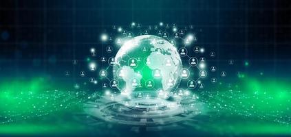 rede de pessoas e tecnologia de negócios de conceito de comunicação global. foto