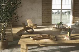 interior de sala de estar em estilo fazenda e cozinha com mesa de jantar foto
