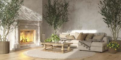 interior da sala de estar em estilo de casa de fazenda escandinava com lareira foto