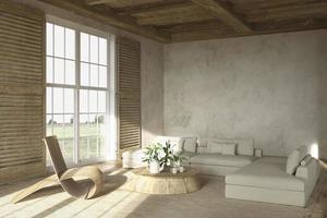 interior de sala de estar em estilo de casa de fazenda bege com móveis de madeira foto