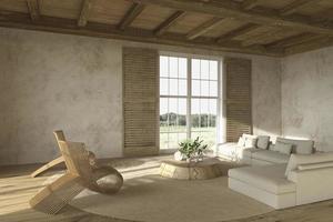 interior de sala de estar em estilo fazenda com móveis de madeira natural foto