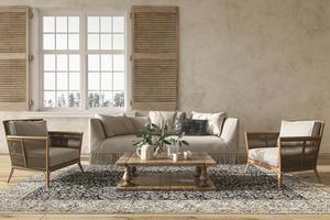 ilustração da renderização 3d do interior da sala de estar em estilo de casa de fazenda foto