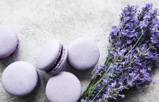 Macarons franceses com sabor de lavanda e flores frescas de lavanda foto