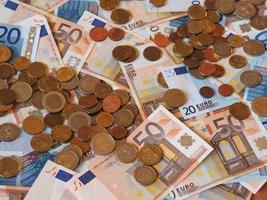 notas e moedas euro eur, união europeia eu foto