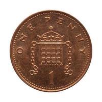 1 moeda de um centavo, Reino Unido foto