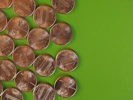 moedas de um centavo de dólar, estados unidos com espaço de cópia foto
