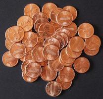 moedas de dólar 1 cent, trigo centavo centavo foto