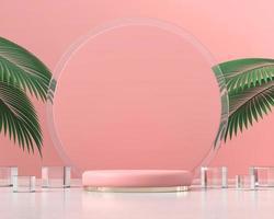 plataforma rosa pódio para exibição de produtos com folhas de palmeira renderização em 3D foto