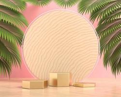 plataforma pódio para exibição de produtos com folhas de palmeira renderização em 3D foto