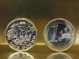 Moeda de 1 libra e 1 euro sobre fundo de metal foto