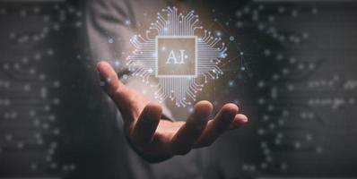 símbolo chip eletrônico ai ilustração moderna de tecnologia da informação foto