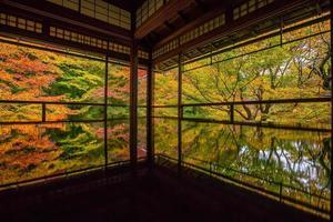 vista das cores do outono dos antigos templos em kyoto foto