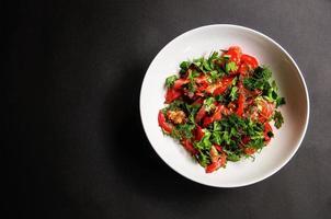 salsa tomate e salada de endro em um prato branco sobre um fundo escuro foto