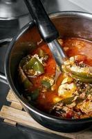 sopa de tomate picante tradicional com sopa de ovo e legumes em madeira portugal foto