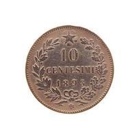 antiga moeda italiana isolada foto