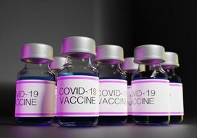 Renderização 3D de frascos de vacinas covid-19 em uma linha foto