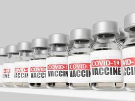Renderização 3D dos frascos de vacinas covid-19 foto