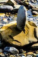 balanceando rochas no Bragg Creek Provincial Park em Alberta, Canadá foto