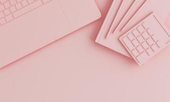 mesa de escritório minimalista rosa monocromática foto