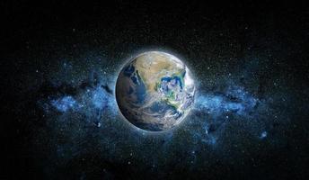 planeta terra e estrela, elementos desta imagem fornecida pela nasa foto